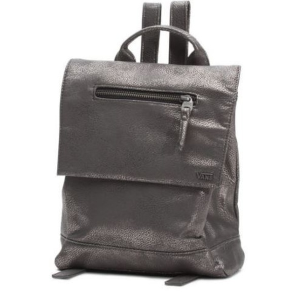 49% off Vans Handbags - Vans Backpack Gunmetal Vegan Leather Bag ...